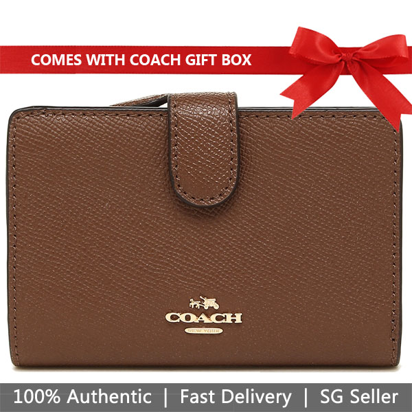 Coach Wallet In Gift Box Medium Corner Zip Wallet In Crossgrain Leather Saddle Brown 2 / Gold # F11484