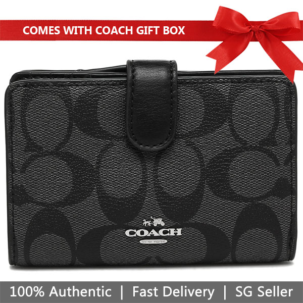 Coach Wallet In Gift Box Medium Corner Zip Wallet In Signature Coated Canvas Black Smoke # F23553