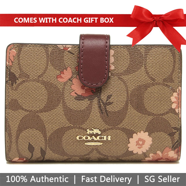 Coach Wallet In Gift Box Medium Wallet In Signature Canvas With Prairie Daisy Cluster Print Khaki / Coral # F78699