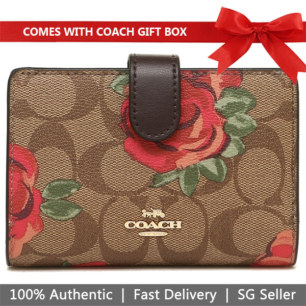 Coach Wallet In Gift Box Medium Wallet Medium Corner Zip Wallet In Signature Canvas With Floral Print Khaki / Oxblood # F39190