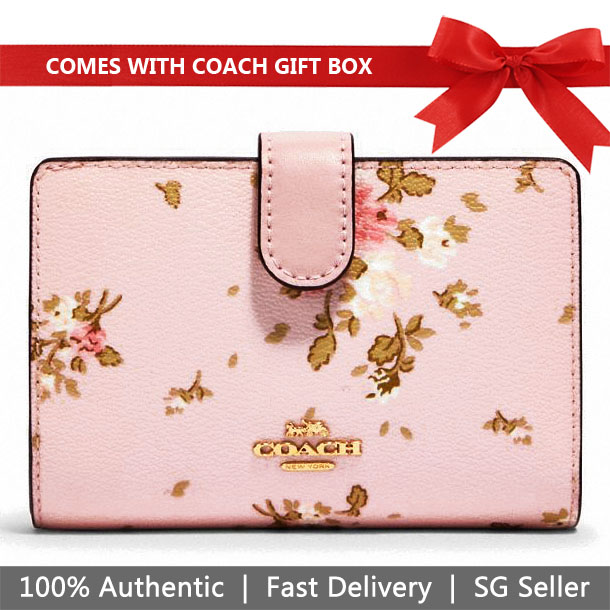 Coach Wallet In Gift Box Medium Wallet Medium Corner Zip Wallet With Rose Bouquet Print Blossom Pink # 91750
