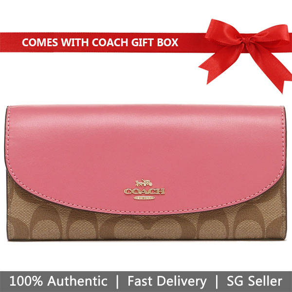 Coach Wallet In Gift Box Slim Envelope Wallet In Signature Canvas Long Wallet Khaki / Pink Ruby # F54022