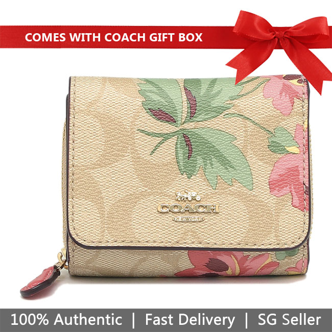 Coach Wallet In Gift Box Small Trifold Wallet In Signature Canvas With Lily Print Small Wallet Light Khaki / Pink # F75922