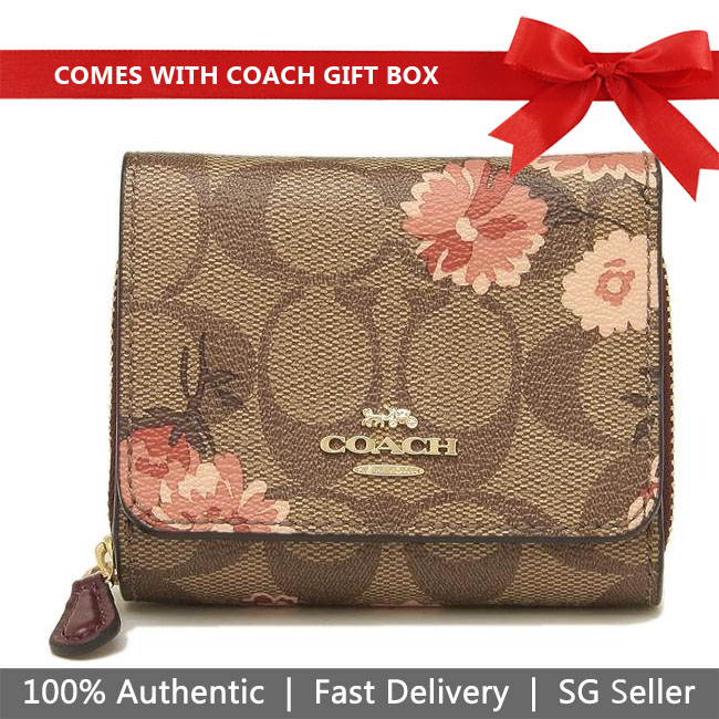 Coach Wallet In Gift Box Small Trifold Wallet In Signature Canvas With Prairie Daisy Print Small Wallet Khaki / Coral # F78022
