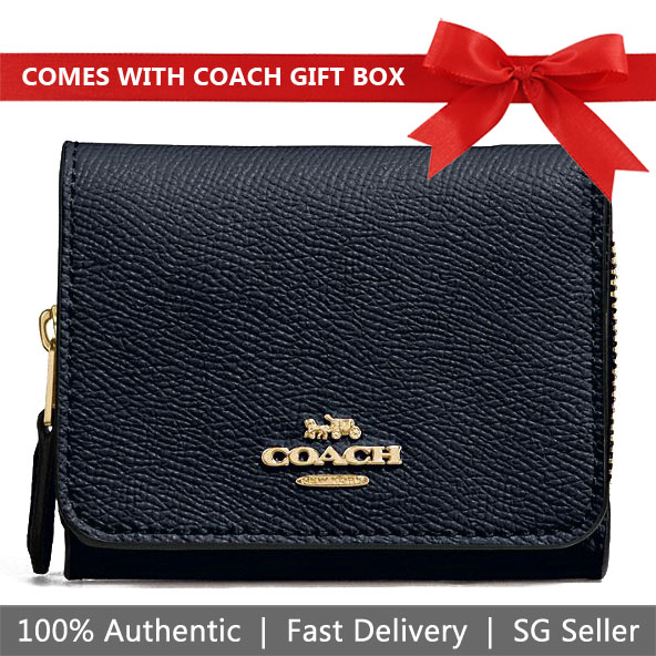 Coach Wallet In Gift Box Small Trifold Wallet Small Wallet Midnight Navy Dark Blue # F37968