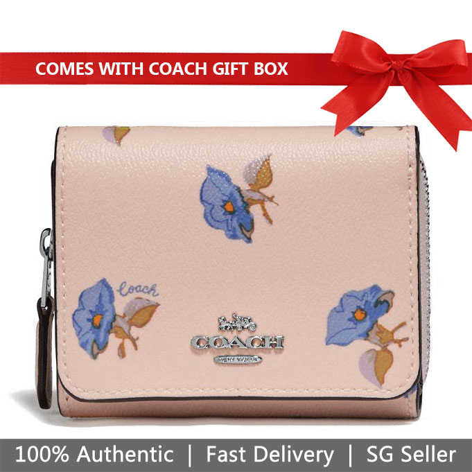 Coach Wallet In Gift Box Small Trifold Wallet With Bell Flower Print Pink # F73490