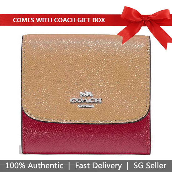 Coach Wallet In Gift Box Small Wallet In Colorblock Pink / Silver # F29450