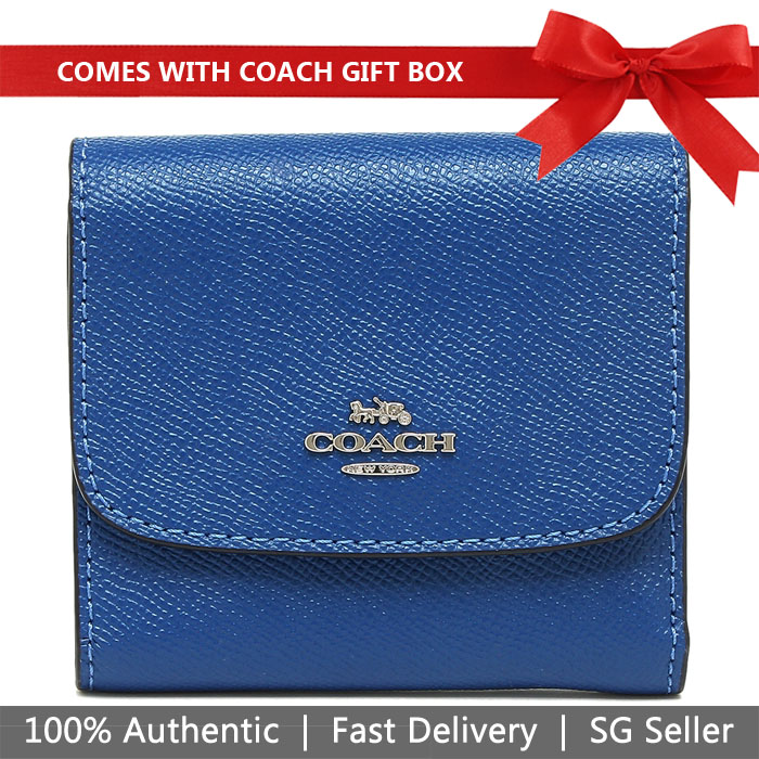 Coach Wallet In Gift Box Small Wallet In Crossgrain Leather Atlantic Blue / Silver # F87588