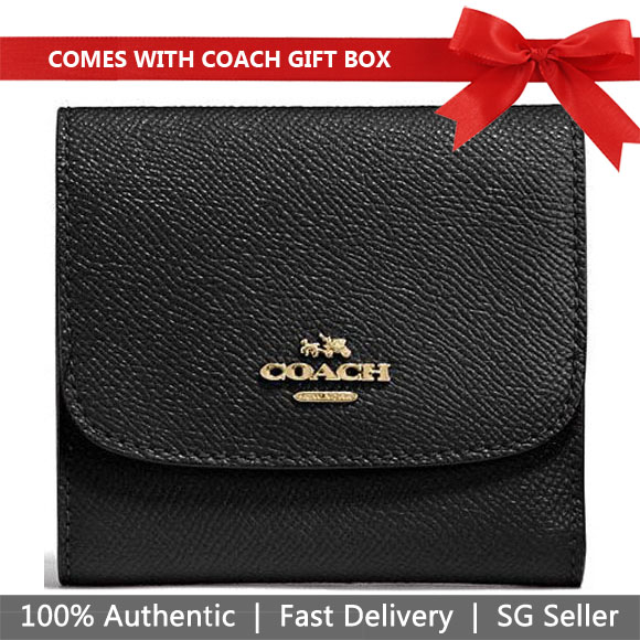 Coach Wallet In Gift Box Small Wallet In Crossgrain Leather Black # F87588