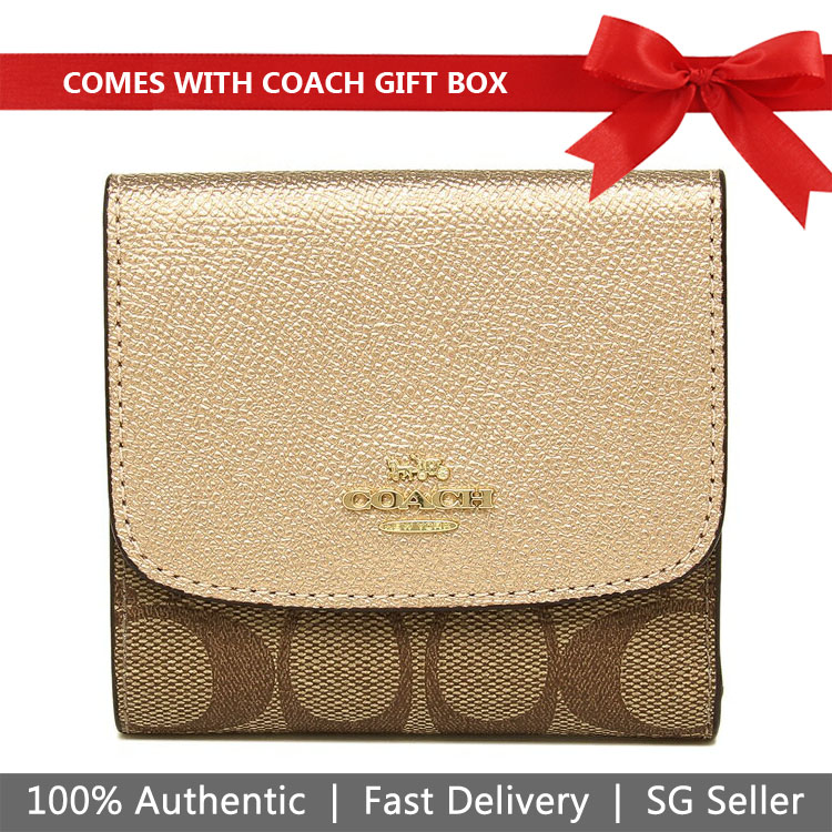 Coach Wallet In Gift Box Small Wallet In Signature Canvas Khaki / Rose Gold # F87589
