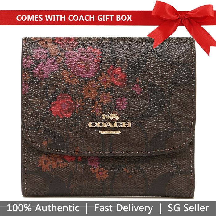 Coach Wallet In Gift Box Small Wallet In Signature Canvas With Floral Bundle Print Brown / Metallic Currant # F39157