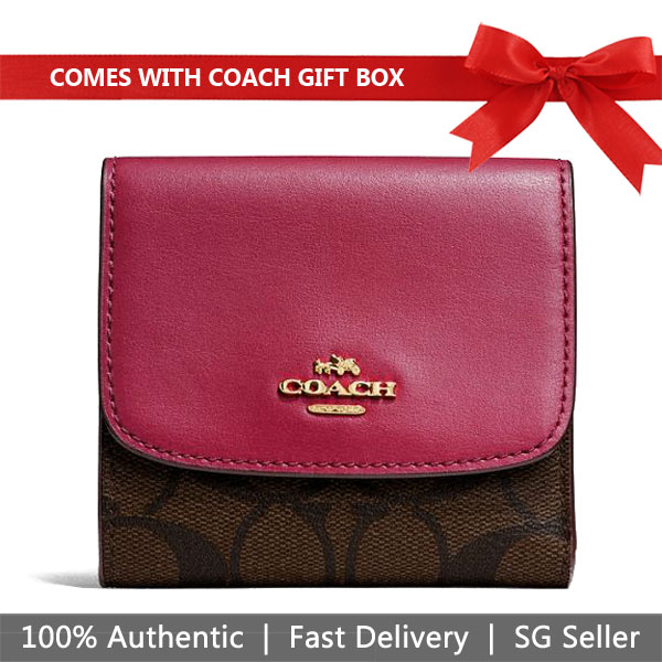 Coach Wallet In Gift Box Small Wallet In Signature Coated Canvas Brown / Hot Pink Red # F87589