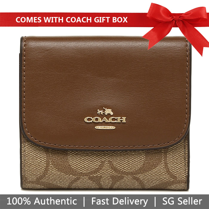Coach Wallet In Gift Box Small Wallet In Signature Coated Canvas Khaki / Saddle Brown # F87589
