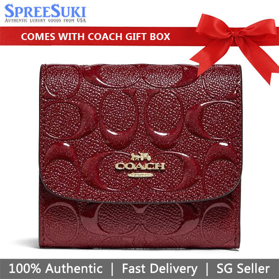 Coach Wallet In Gift Box Small Wallet In Signature Leather Cherry Red # F88907