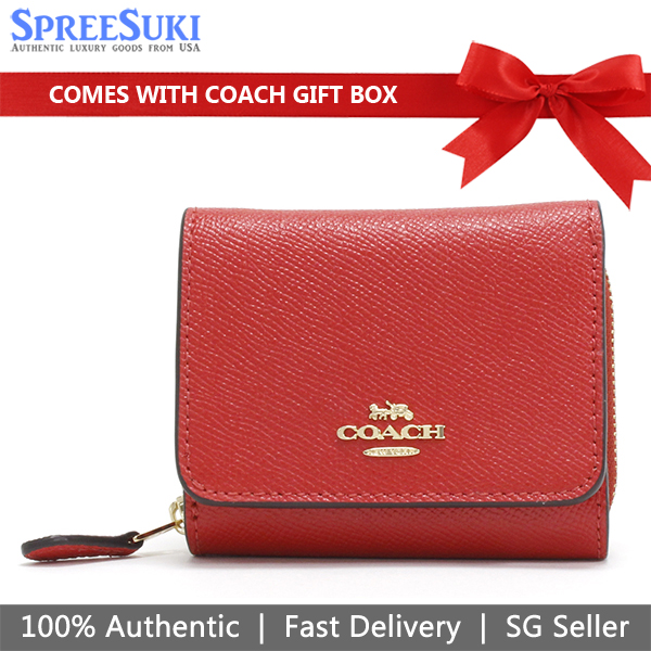 Coach Wallet In Gift Box Small Wallet Small Trifold Wallet Bright Red # F37968
