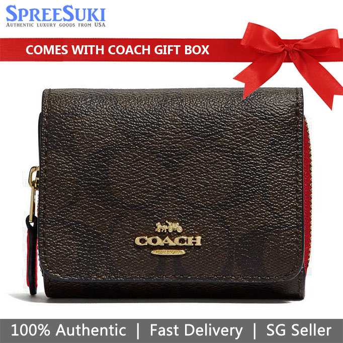 Coach Wallet In Gift Box Small Wallet Small Trifold Wallet In Signature Canvas Brown / True Red # F41302