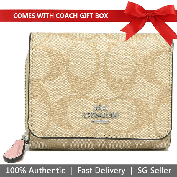 Coach Wallet In Gift Box Small Wallet Small Trifold Wallet In Signature Canvas Light Khaki / Carnation Pink # F41302