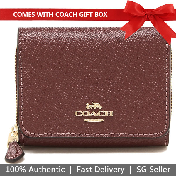Coach Wallet In Gift Box Small Wallet Small Trifold Wallet Wine Dark Red Purple # F37968
