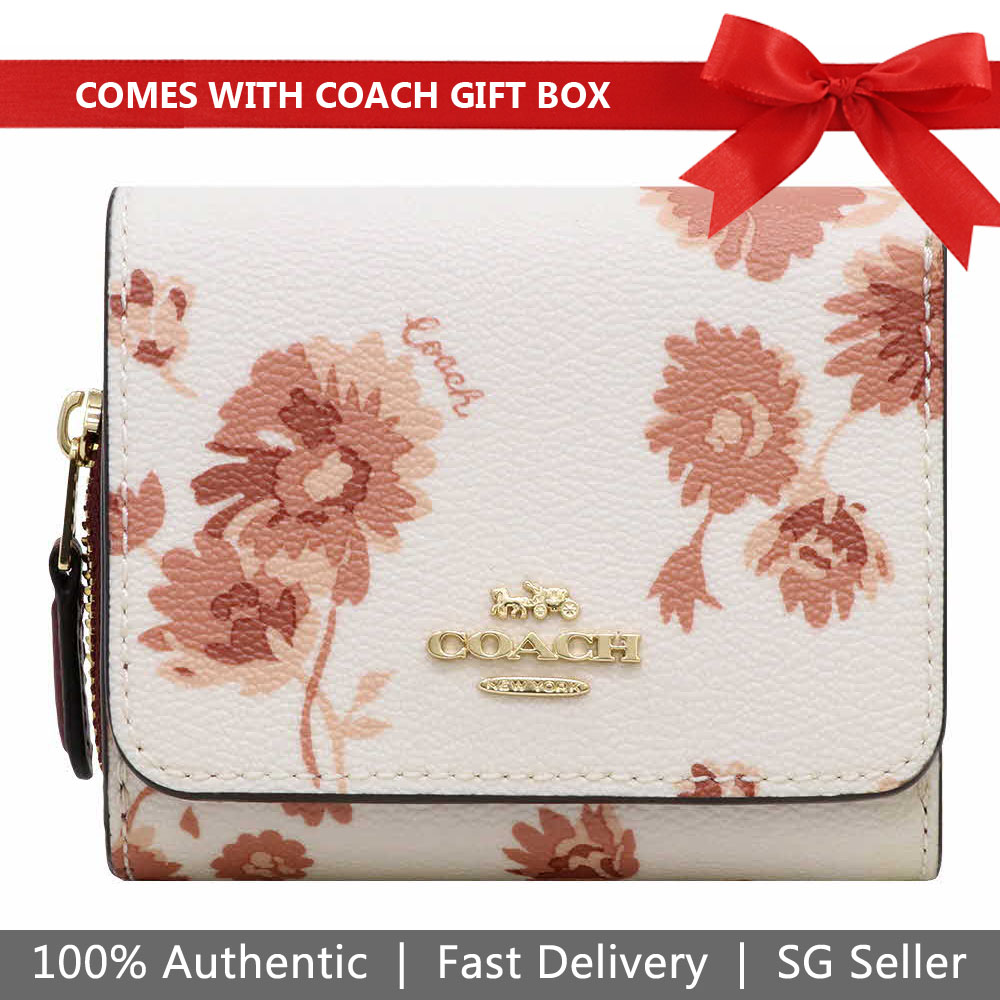 Coach Wallet In Gift Box Small Wallet Small Trifold Wallet With Prairie Daisy Cluster Print Chalk Off White # F78017