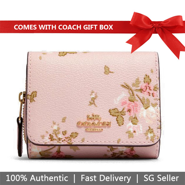 Coach Wallet In Gift Box Small Wallet Small Trifold Wallet With Rose Bouquet Print Blossom Pink # 91752