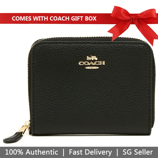Coach Wallet In Gift Box Small Wallet Small Zip Around Wallet Black # F24808