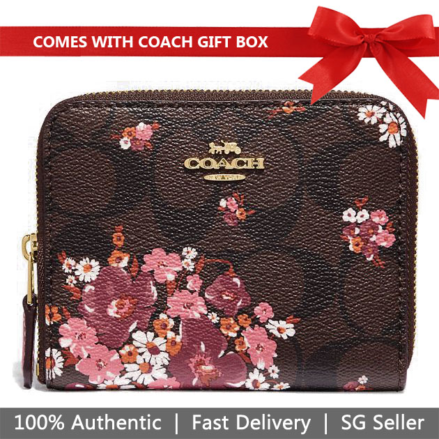 Coach Wallet In Gift Box Small Wallet Small Zip Around Wallet In Signature Canvas Bouquet Print Brown # F31955