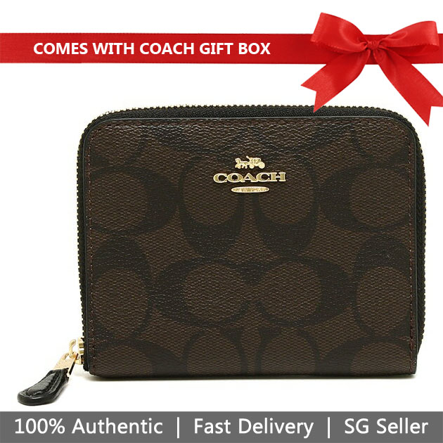 Coach Wallet In Gift Box Small Wallet Small Zip Around Wallet In Signature Canvas Brown / Black # F30308