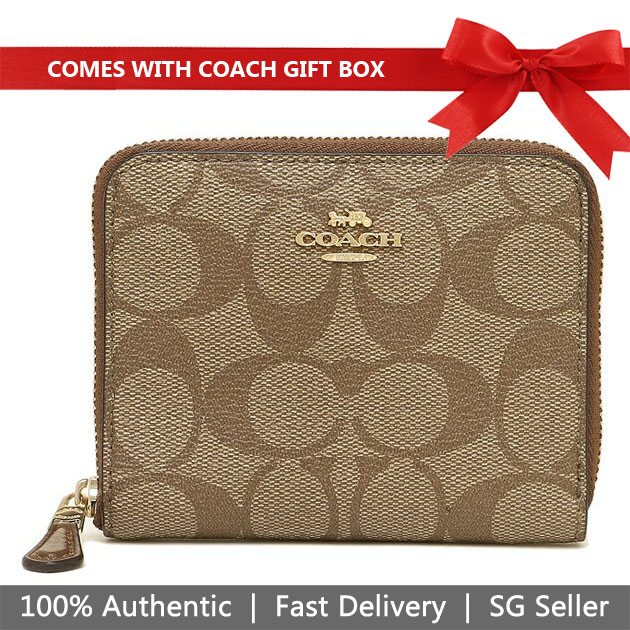 Coach Wallet In Gift Box Small Wallet Small Zip Around Wallet In Signature Canvas Khaki / Saddle Brown # F30308