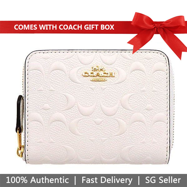 Coach Wallet In Gift Box Small Wallet Small Zip Around Wallet In Signature Leather Chalk Off White # F67569