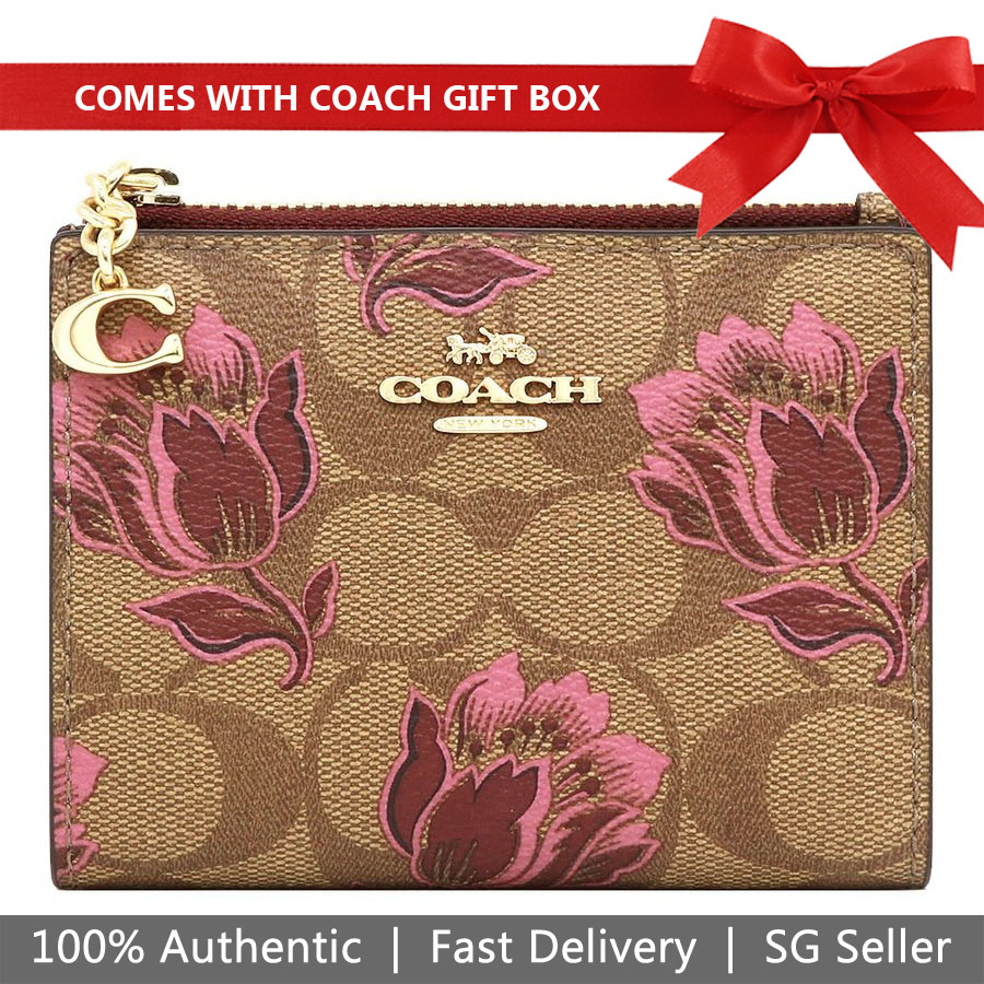 Coach Wallet In Gift Box Small Wallet Snap Card Case In Signature Canvas With Desert Tulip Print Khaki / Pink # F76881