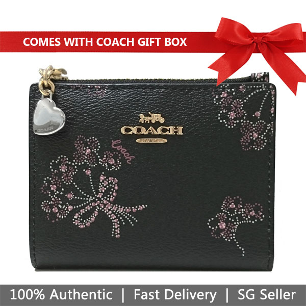 Coach Wallet In Gift Box Small Wallet Snap Card Case With Ribbon Bouquet Print Black Pink # F76880