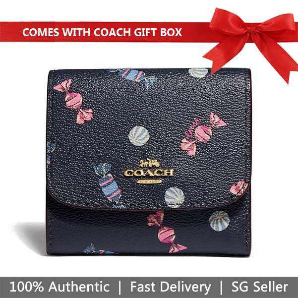 Coach Wallet In Gift Box Small Wallet With Scattered Candy Print Navy Dark Blue / Pink Ruby # F73479