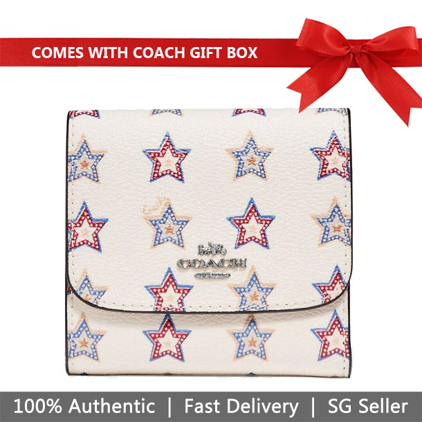 Coach Wallet In Gift Box Small Wallet With Western Star Print Chalk White # F73628