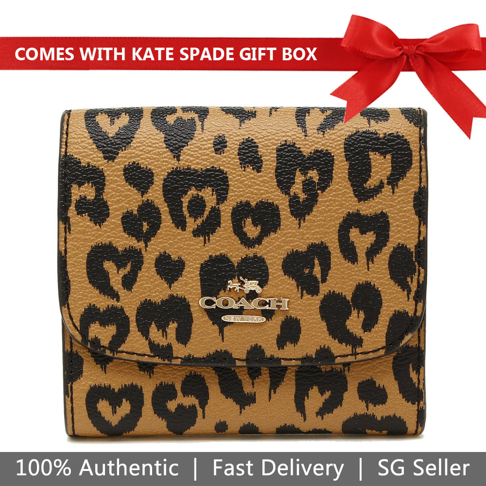 Coach Wallet In Gift Box Small Wallet With Wild Heart Print Brown Natural # F23440