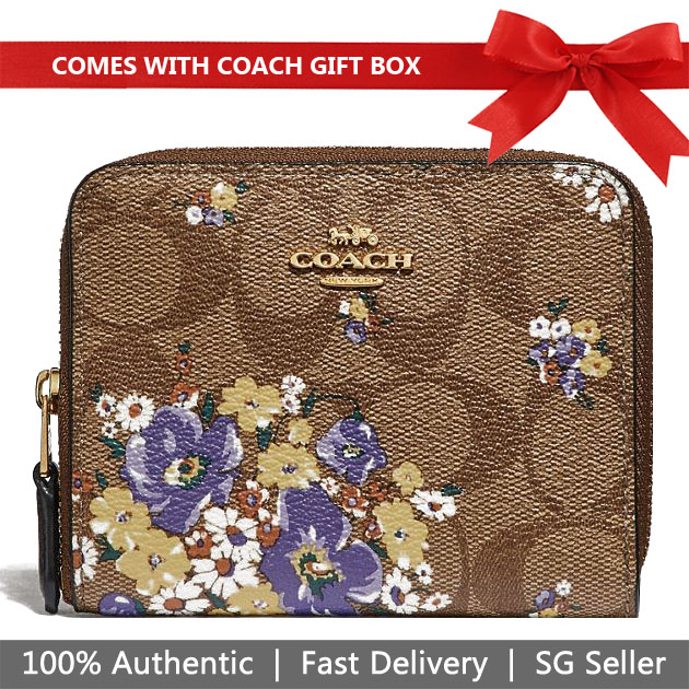 Coach Wallet In Gift Box Small Zip Around Wallet In Signature Canvas With Medley Bouquet Print Khaki # F31955