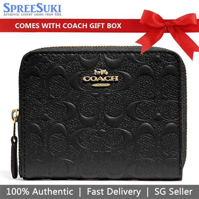 Coach Wallet In Gift Box Small Zip Around Wallet In Signature Leather Black # F67569