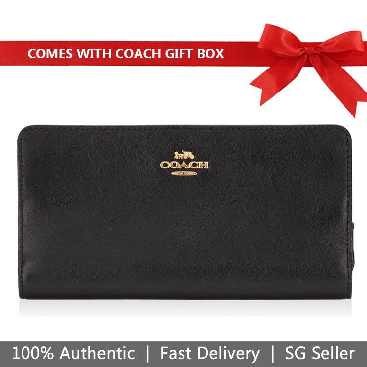 Coach Wallet In Gift Box Smooth Wallet Black # 68399