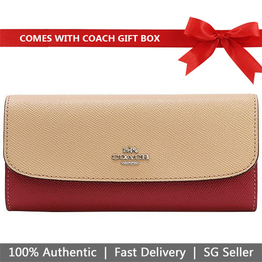 Coach Wallet In Gift Box Soft Wallet In Colorblock Pink Multi / Silver # F29938