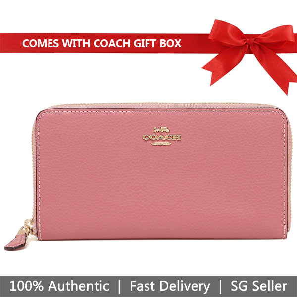 Coach Wallet In Gift Box Long Wallet Accordion Zip Wallet Peony Pink # F16612