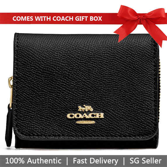 Coach Wallet In Gift Box Small Trifold Wallet Black # F37968