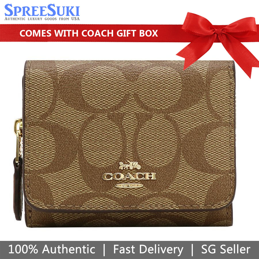 Coach Wallet In Gift Box Small Trifold Wallet In Signature Canvas Khaki Saddle Brown # F41302