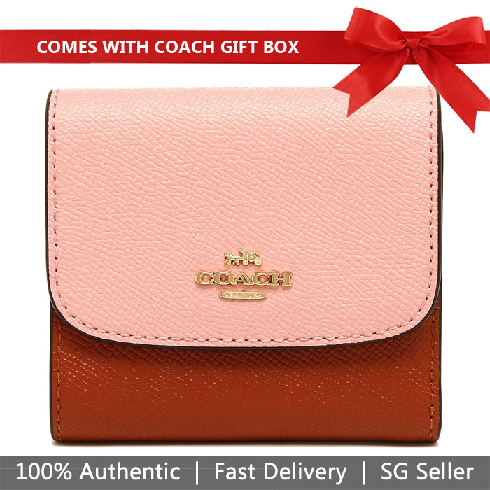 Coach Wallet In Gift Box Small Wallet In Colorblock Blush Terracotta Pink Red # F26458