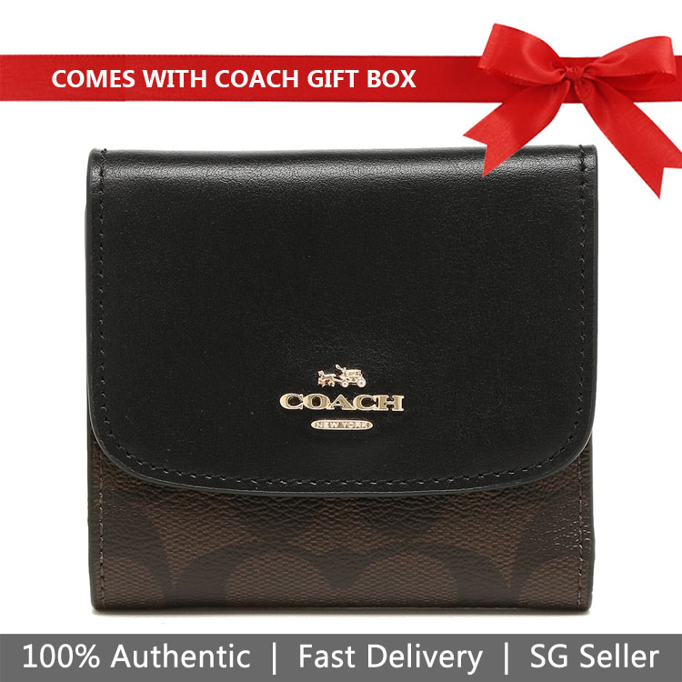 Coach Wallet In Gift Box Small Wallet In Signature Coated Canvas Black / Brown # F87589