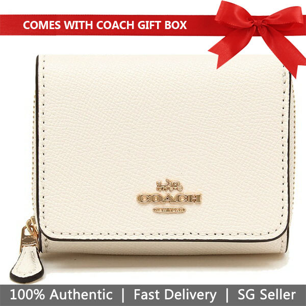 Coach Wallet In Gift Box Small Wallet Small Trifold Wallet Chalk Off White # F37968