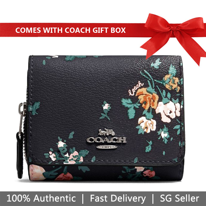 Coach Wallet In Gift Box Small Wallet Small Trifold Wallet With Rose Bouquet Print Midnight Navy Dark Blue # 91752
