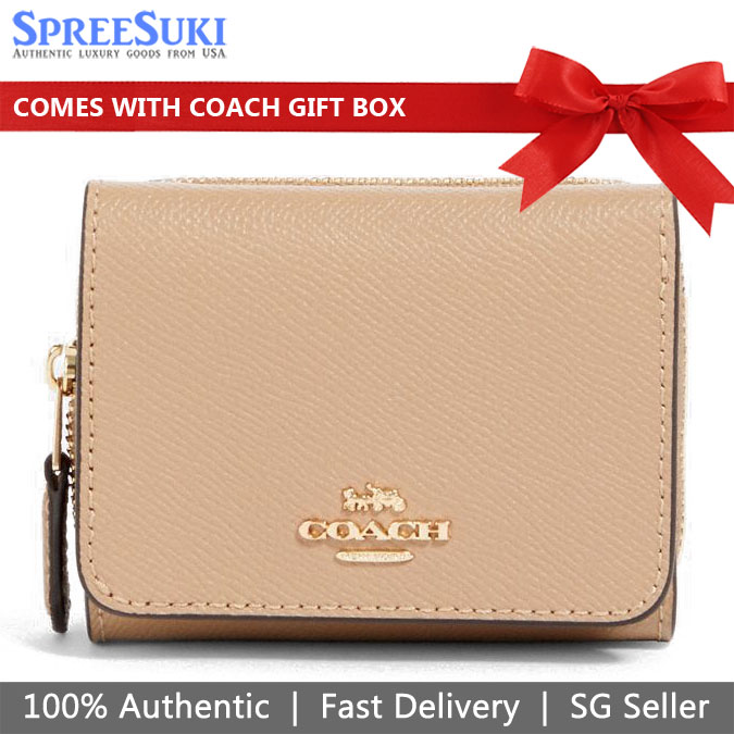 Coach Small Trifold Wallet Taupe Nude Beige # 37968