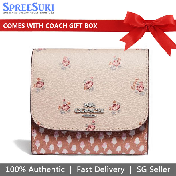 Coach Small Wallet With Floral Ditsy Print Light Pink # F67618