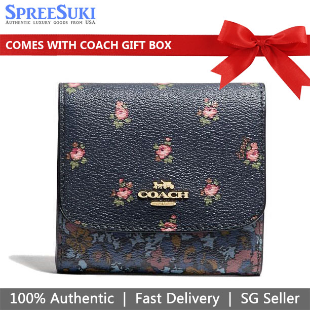 Coach Small Wallet With Floral Ditsy Print Midnight Navy Dark Blue # F67618