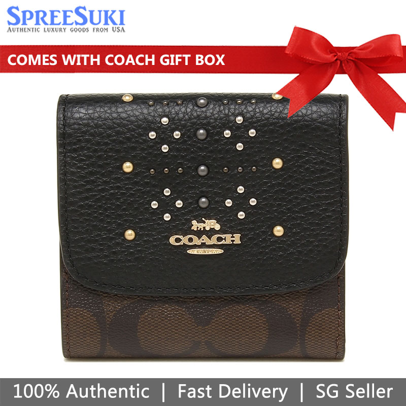 Coach Trifold Studded Small Wallet Brown Black # F31969