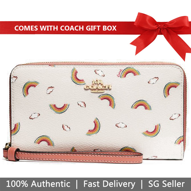 Coach Wallet Wristlet In Gift Box Large Phone Wallet With Allover Rainbow Print Chalk White / Light Coral # F73457